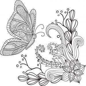 Motylek i kwiatki