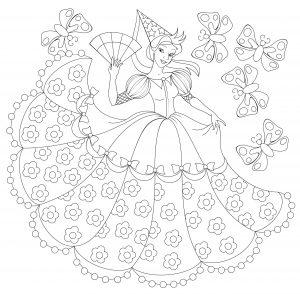 Ilustracja księżniczki do kolorowania