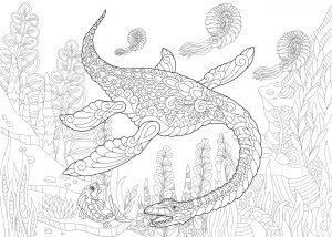 Dinozaur plezjozaur z epoki mezozoicznej