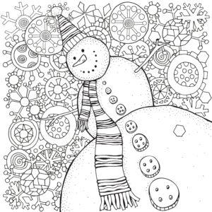 Bałwan i śnieżynki
