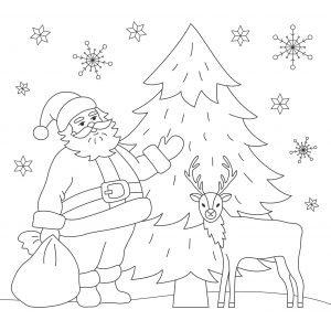 Mikołaj, śnieg i renifer