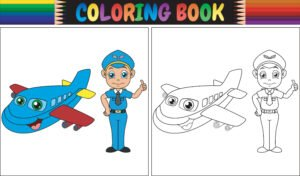 Pokoloruj niebieski samolot i pilota