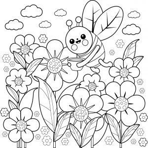 Pszczółka i kwiaty