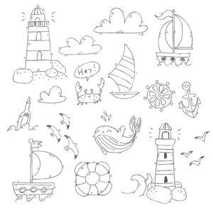 Wieloryb, kotwica i żaglówki