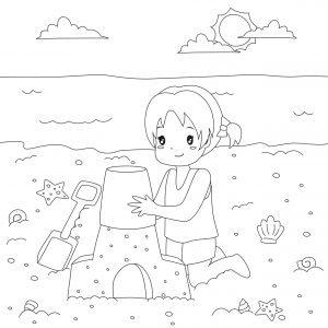 Dziewczynka i zamek z piasku
