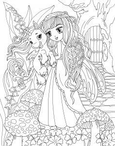 Dziewczyna i mały jednorożec