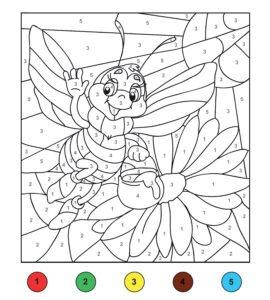 Pokoloruj pszczółkę i kwiatka