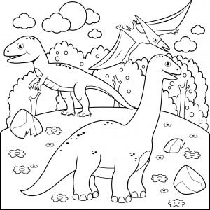 Prehistoryczny krajobraz z dinozaurami