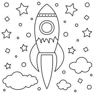 Kosmiczna rakieta i gwiazdy