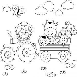 Traktor i przyczepa zwierząt