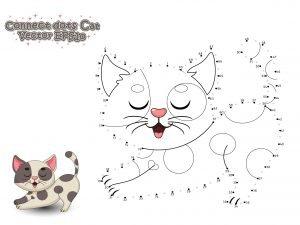 Połącz punkty i pokoloruj kotka