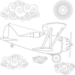 Samolot, chmurki i słoneczko