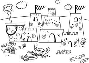 Zamek z piasku i krab