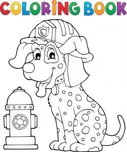 Pies strażak i hydrant