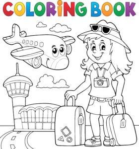 Dziewczyna lecąca na samolot