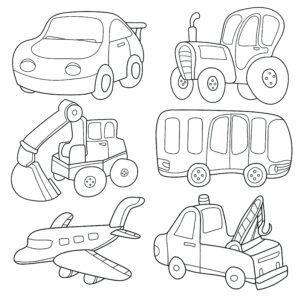 Koparka, samolot i autobus