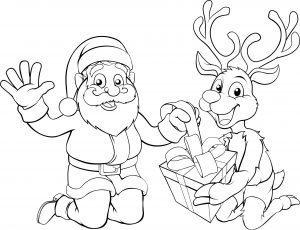 Mikołaj i renifer pakują prezent