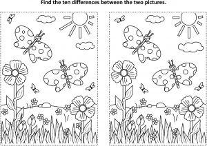 Znajdź różnice: motylki