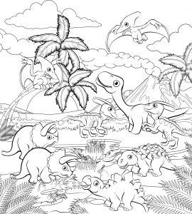 Dinozaury i flora