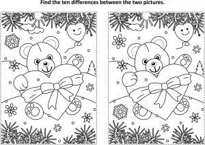 Znajdź różnicę - serce i miś