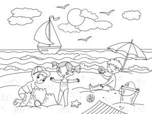 Dzieci na plaży i łódka