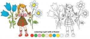 Dziewczynka i błękitne kwiaty