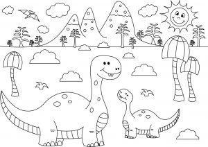 Prehistoryczny krajobraz z zabawnymi dinozaurami