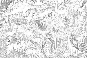 Wzór z drzewami i dinozaurami