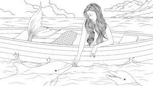 Syrenka w łódce i delfin
