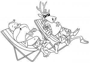 Mikołaj i renifer na wakacjach
