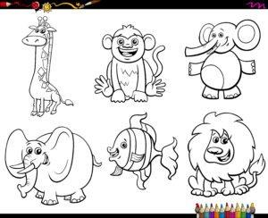 Lew, słoń i małpa