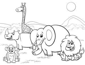 Hipopotam, żyrafa i lew