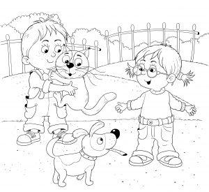 Dziewczynki, kotek i piesek