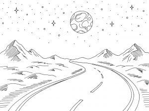 Krajobraz z księżycem