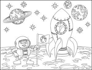 Astronauta, rakieta i księżyc