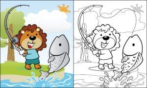 Lew łowiący ryby