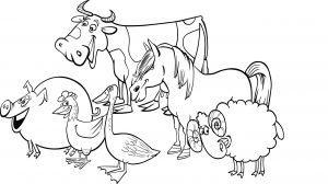 Koń, krowa i inne zwierzęta na farmie