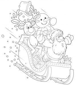 Mikołaj, renifer i bałwan w saniach
