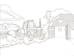 Traktor i farma