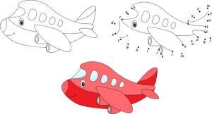 Połącz kropki - czerwony samolot