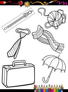 Krawat, parasolka i walizka