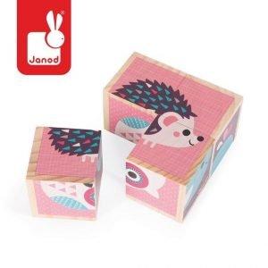Klocki drewniane puzzle 6w1 zwierzątka