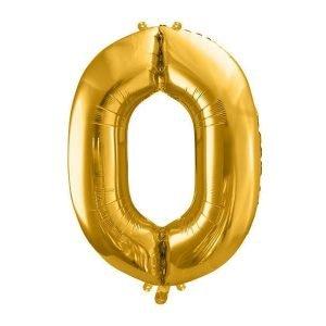 Balon foliowy metalizowany, cyfra 0, 86cm, złoty