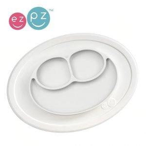 Ezpz silikonowy talerzyk z podkładką mały 2w1 mini mat biały