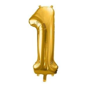 """Balon foliowy metalizowany, cyfra """"1"""", 86 cm, złoty"""