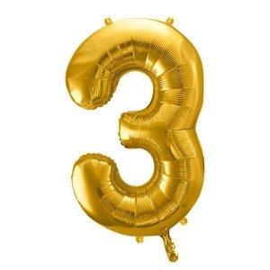 """Balon foliowy metalizowany cyfra """"3"""", 86 cm, złoty"""