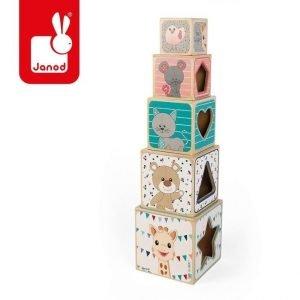 Piramida wieża drewniana żyrafka sophie, janod, 12m+