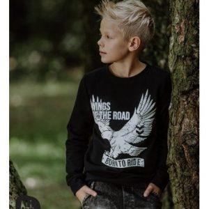 Czarna bluza z orłem wings of the road