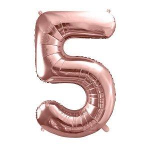 """Balon foliowy metalizowany cyfra """"5"""", 86 cm, różowe złoto"""