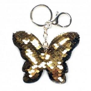 Breloczek motyl cekinowy złoty
